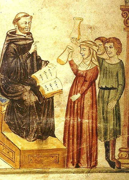 Constantine the African examines patients' urine. (Public Domain)