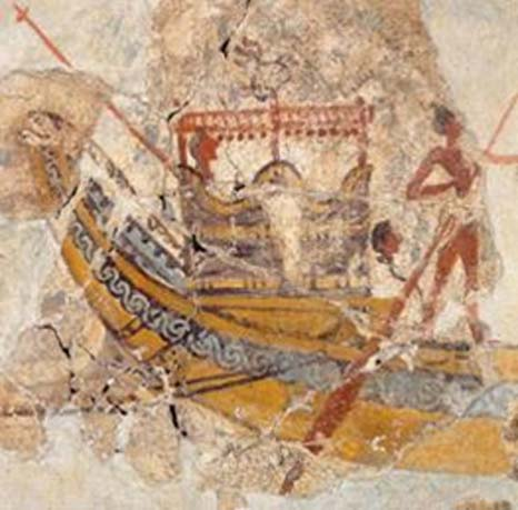 Copper bottomed Minoan hull? (salimbeti) This is the only large ship in the precession fresco which is not white (40 oars).  It is also interesting to note that the frame of the captain's cabin seems to have the same coloring. That suggests that composite reinforcement may also have been applied internally and/or to reinforce, make water tight, or join other structural components. It is also interesting that the artist paints the interior of the hull in blue, ignoring the 'Egyptian' drawing convention that show scenes in strict side or plan elevation, rather than perspective, it is as if the artist wants to record the Minoan technology as an advantage.