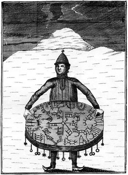 Copper carving depicting a Sami shaman (noaidi) with drum, Meråker, Nord-Trøndelag (1767)