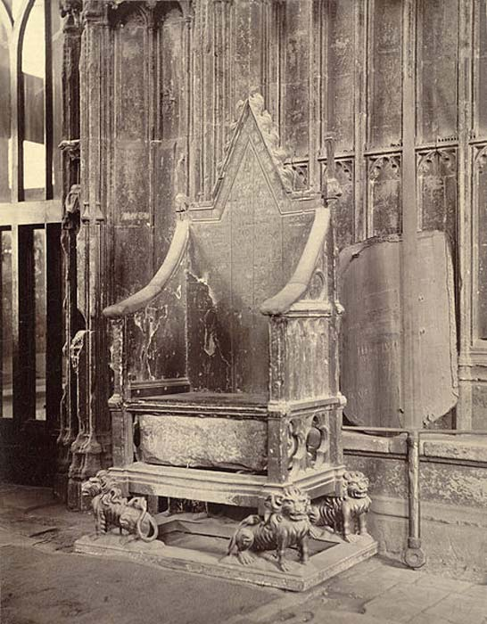 Coronation Chair with Stone of Scone, Westminster Abbey.
