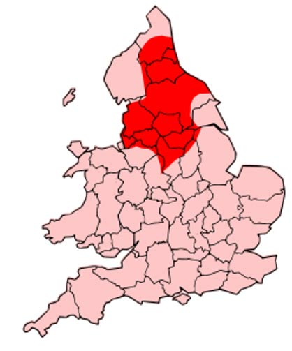County map of England & Wales, overlaid with Territory of the Romano-British Brigantes Tribe of Northern England.