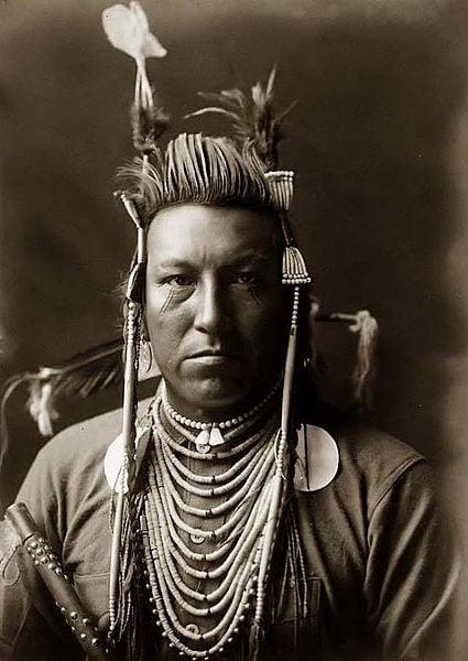 Exemple d'une photographie d'un Indien corbeau nommé «Swallow Bird» par Edward S. Curtis, 1908.