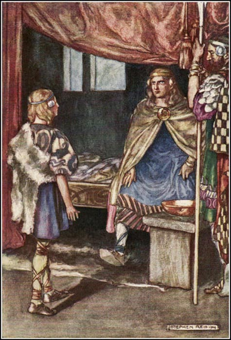"""Cuchulain Desires Arms of the King"", illustration by Stephen Reid in Eleanor Hull's The Boys' Cuchulain, 1904."