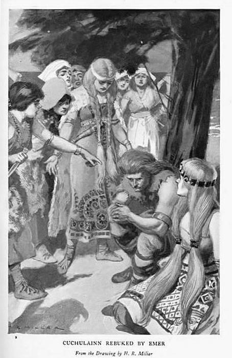 """Cúchulainn rebuked by Emer"", illustration by H. R. Millar from Charles Squire, Celtic Myths and Legends, 1905."