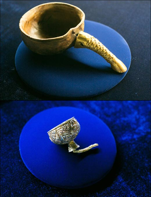 Cups: wooden cup with a golden handle and small golden cup.