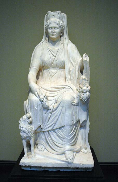 Cybele enthroned, with lion, cornucopia and Mural crown. Roman marble. (Public Domain)