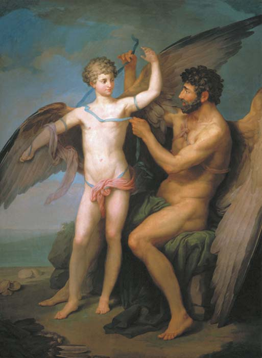 Daedalus builds wings for his son Icarus