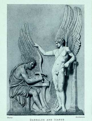 Daedalus making wings for himself and his son Icarus. Relief, Villa Albani, Rome, 1912. (Public Domain)