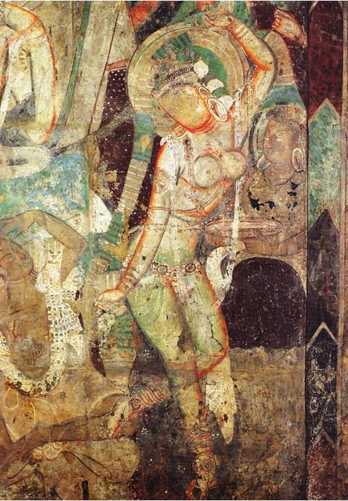 Dance of princess Chandraprabha, cave 83, Kizil Caves