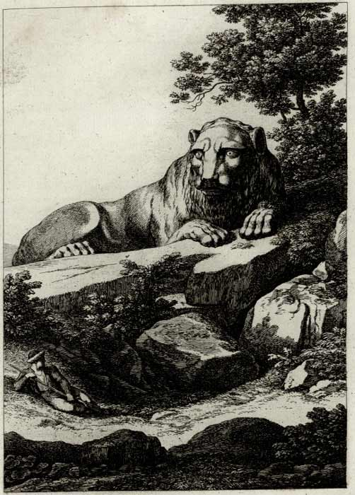 In 1826 the Danish writer Peter Oluf Brödsted drew the Lion of Kea in great detail. (Public domain)