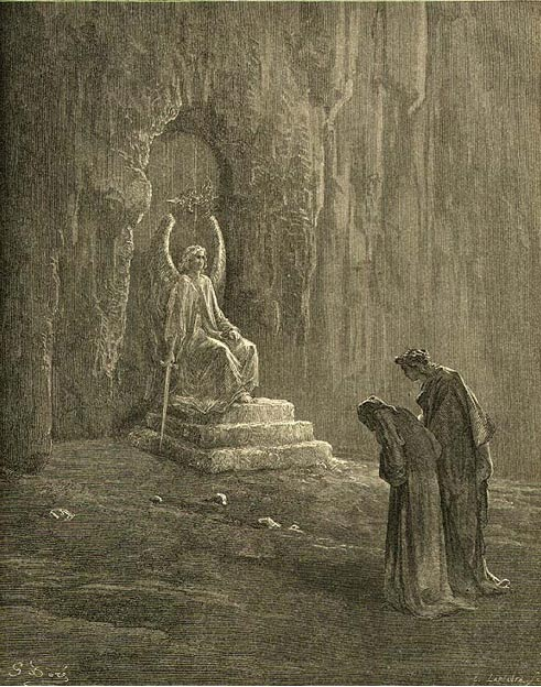 Dante and Virgil at the entrance to purgatory, Gustave Doré