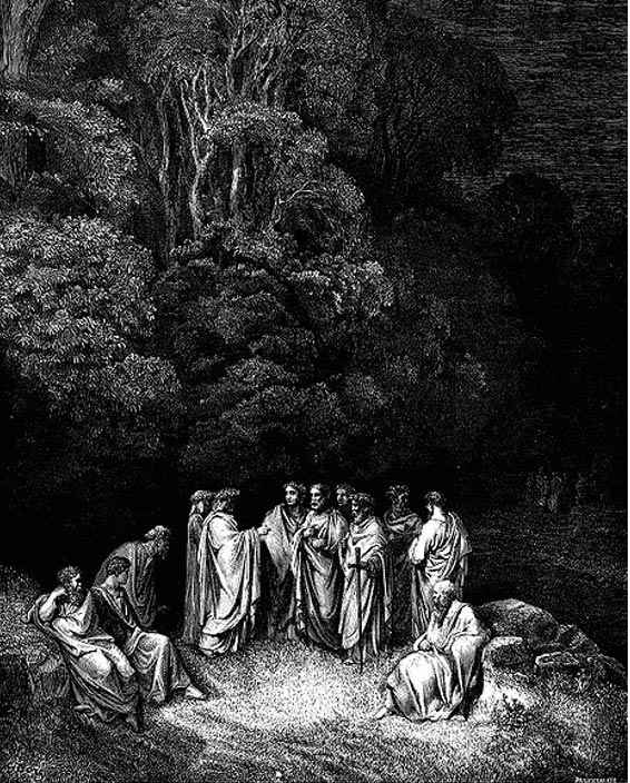 Dante is accepted as an equal by the great Greek and Roman poets (1857) Gustave Doré
