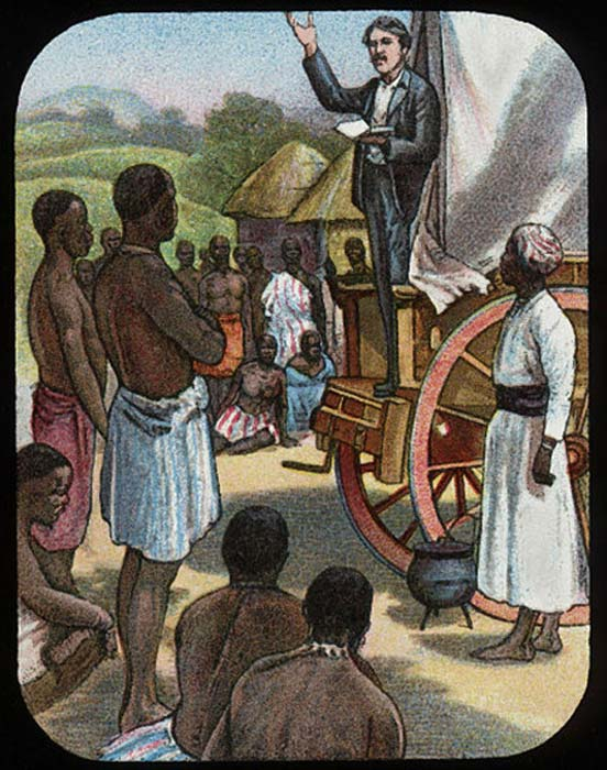 David Livingstone preaching from a wagon. (Public Domain)