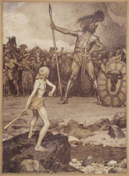 An illustration of David and Goliath's battle by Osmar Schindler, 1888