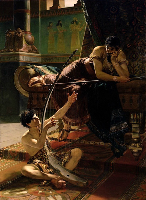 David and Saul (1885) by Julius Kronberg.