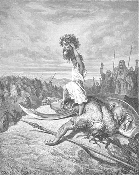 David hoists the severed head of Goliath as illustrated by Gustave Doré,1866 (public domain).