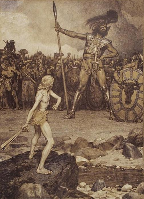 David faces the giant Goliath in this lithograph by Osmar Schindler (1888). (Public Domain)