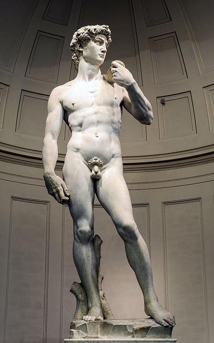 Michelangelo's famous David sculpture is huge, leading one to wonder about the ladders Michelangelo must have used to scale his tall masterpiece in progress. (Livioandronico2013 / CC BY-SA 4.0)