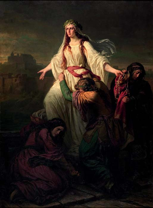 Death of princess Wanda by Maksymilian Piotrowski, 1859.