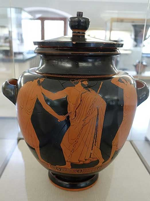 Death of the tyrant Hipparchus, by the Syriskos Painter, 475-470 BC.