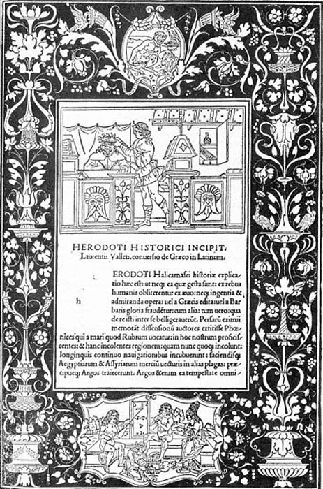 Dedication page for a 1494 version of the 'Historiae' by the Greek historian Herodotus, translated into Latin by Lorenzo Valla and edited by Antonio Mancinelli.