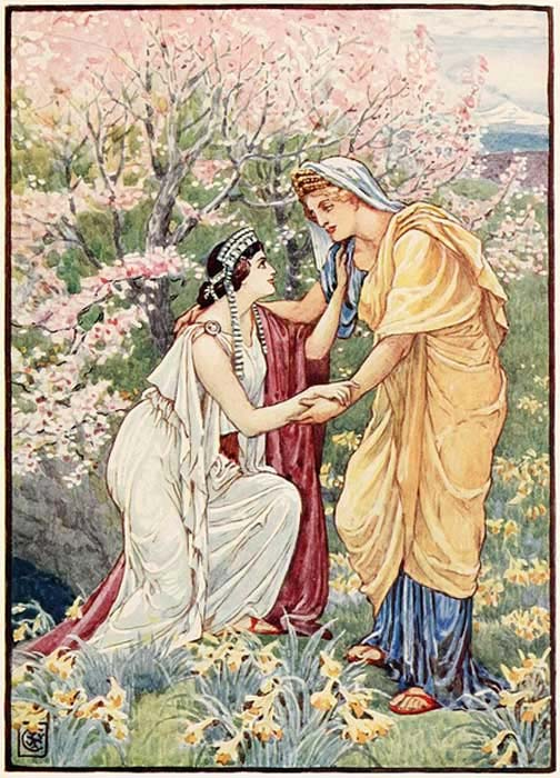 Demeter with her daughter by her side.