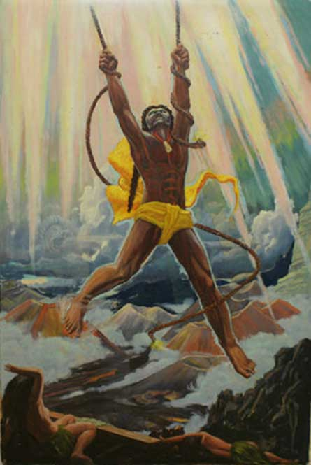 The Demigod Maui Snaring the Rays of the Sun. (1951) By Paul Rockwood.