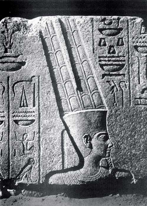 Depiction of Amun in a relief at Karnak