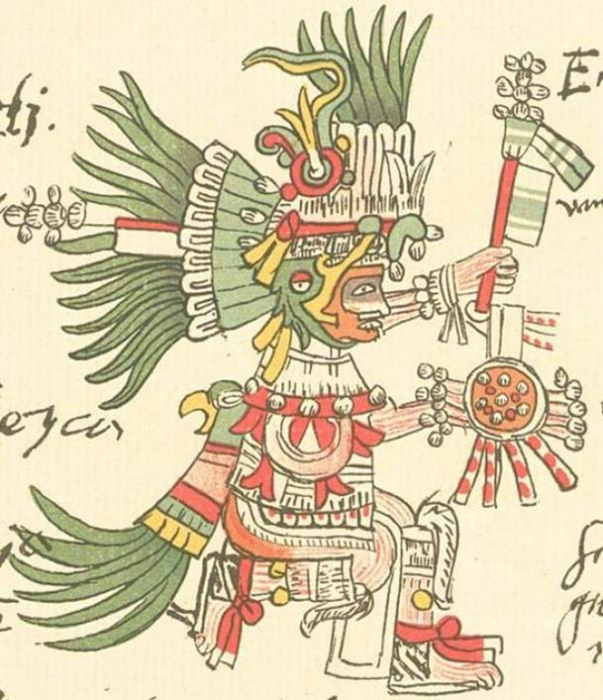 Depiction of Huitzilopochtli in the Codex Telleriano-Remensis (Public Domain)