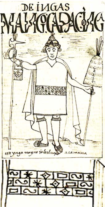 Depiction of Manco Cápac by Felipe Huaman Poma de Ayala and detail of the symbols on his clothing
