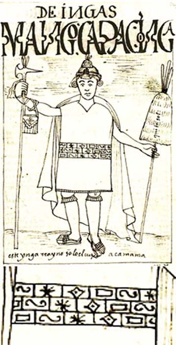 Depiction of Manco Cápac by Felipe Huaman Poma de Ayala and detail of the symbols on his clothing. (Public Domain )