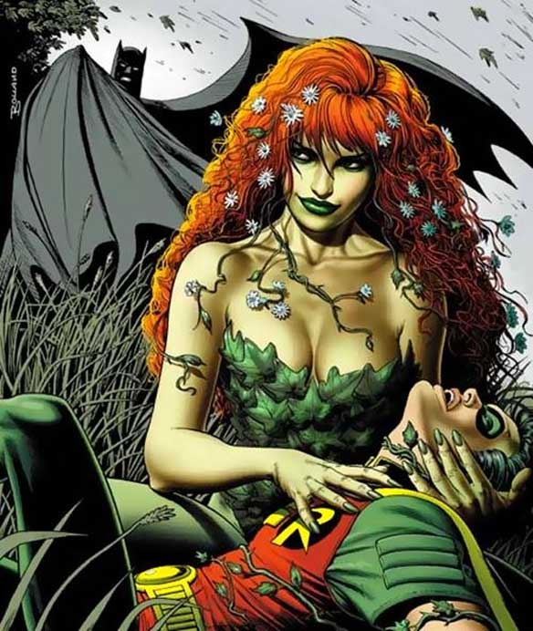 Depiction of Poison Ivy, a femme fatale in 'Batman'.