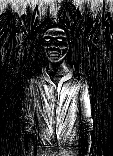 Depiction of a zombie, at twilight, in a field of sugar cane