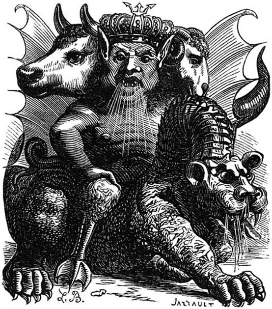 Depiction of the demon Asmodeus from 'Le Dictionnaire Infernal'.