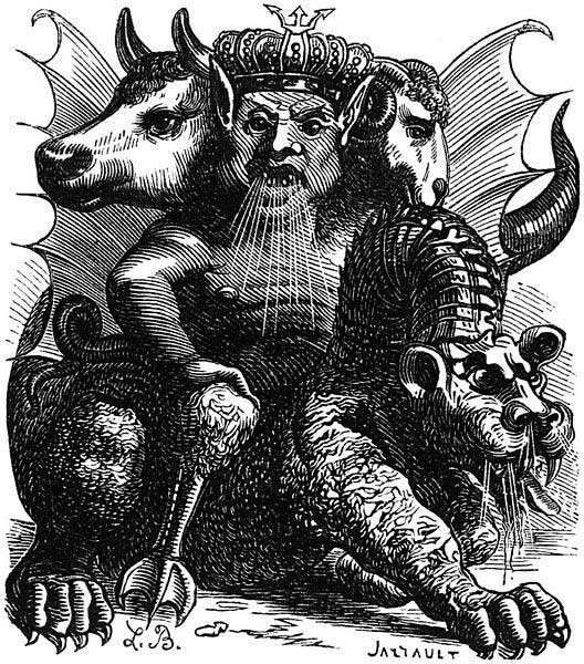 Depiction of the demon Asmodeus from Collin de Plancy'sDictionnaire Infernal, first published in 1818. (Public Domain)