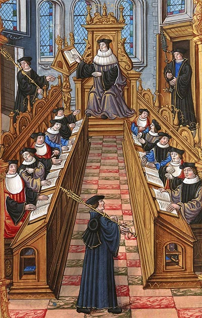 Depiction of a meeting of doctors at the University of Paris in the Middle Ages. (Étienne Colaud / Public domain)