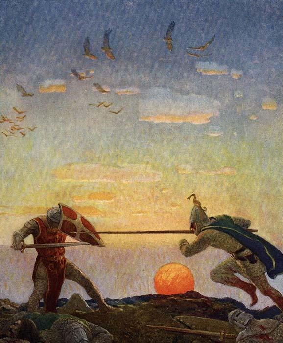Depiction of the duel between Sir Mordred, Arthur's villainous illegitimate son, and King Arthur. (Public domain)