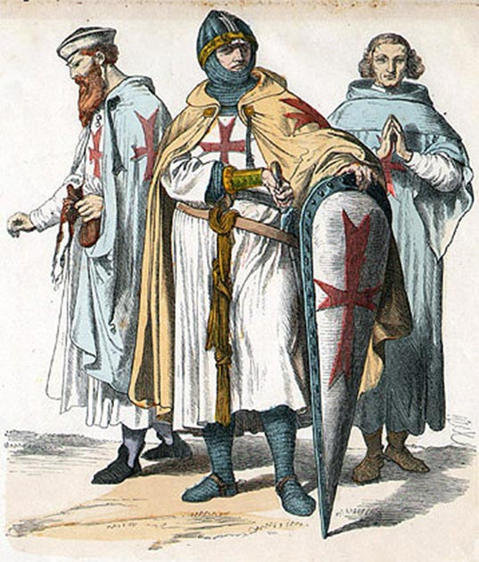 Depiction of three German knights Templar. (Unknown author / Public domain)