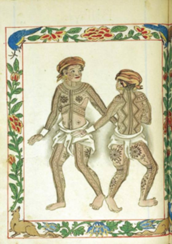 "Depictions of the tattooed indigenous people the Spanish encountered in the Philippines. ""Pintados of the Visayas"" Boxer Codex (c. 1595)"