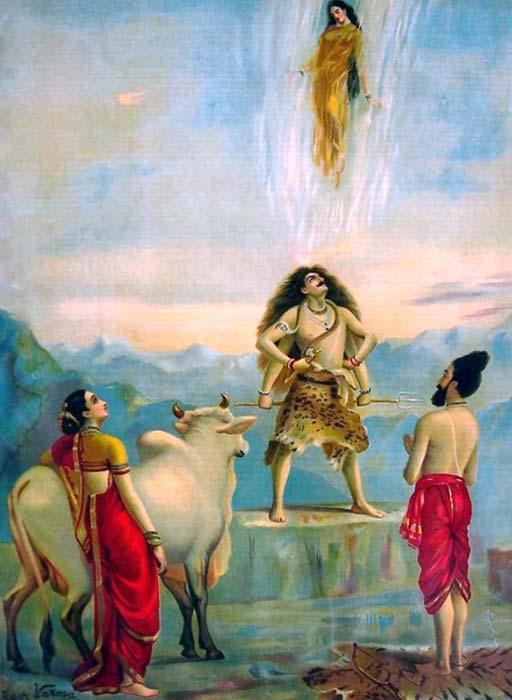 The Descent of Ganga, supported by Shiva's hair. Bhagirath stands to the right (Raja Ravi Varma / Public Domain)