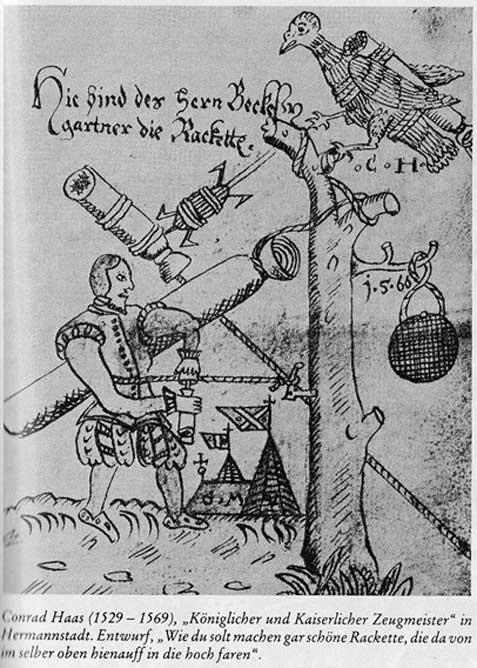 Description of a rocket by Conrad Haas, a German master gunner.