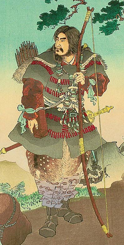 Detail of Emperor Jinmu - Stories from 'Nihonki' (Chronicles of Japan), by Ginko Adachi. Woodblock print depicting legendary first emperor Jimmu