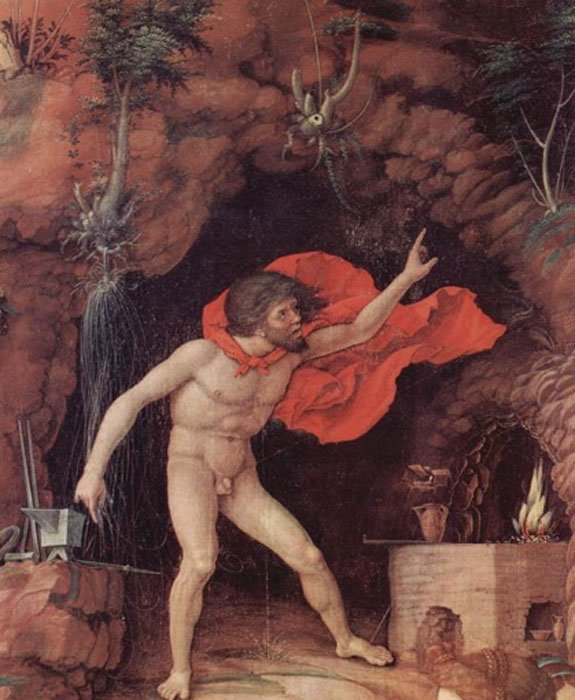 Detail of Hephaestus in his forge in the painting 'Parnassus' (1496-1497) by Andrea Mantegna. (Public Domain)