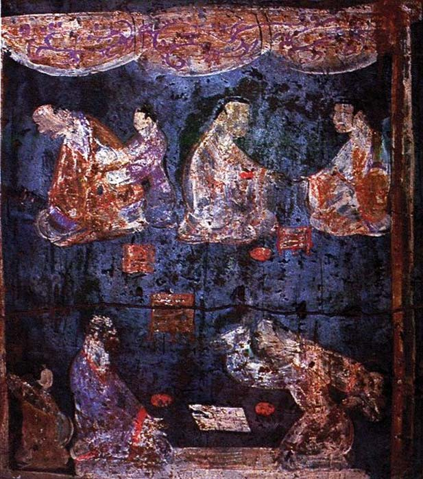 Detail of a mural from an Eastern Han tomb at Zhucun, Henan province. The two figures in the foreground are playing Liubo, with the playing mat between them, and the Liubo board to the side of the mat. (Public Domain)
