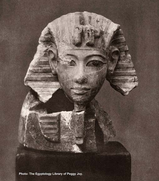 Detail of a portrait-head canopic jar lid from the tomb of Horemheb (KV57). Dr Nicholas Reeves provides convincing evidence to prove that the mummy of Ramesses II was buried in the coffin that had originally held the mortal remains of Horemheb, the last ruler of the Eighteenth Dynasty. (Image courtesy of The Egyptology Library of Peggy Joy).