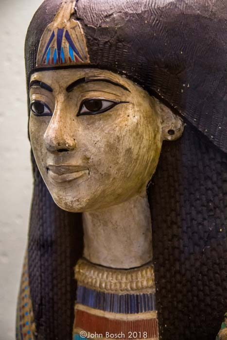 Detail of an exquisitely crafted                  New Kingdom death mask of an unknown man. Plastered and                  painted wood, fabrics and glass paste. Late 18th                  Dynasty. Musée du Cinquantenaire – Jubelpark, Brussels,                  Belgium.