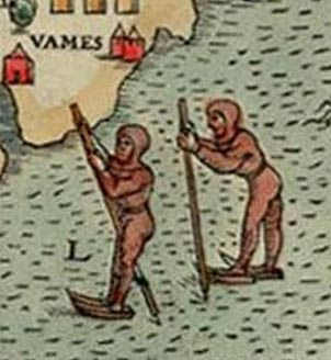 Detail of ice skaters near Finland on the Swedish map 'Carta Marina' (1539).