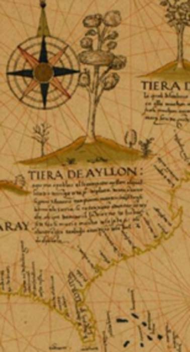 Detail of map showing land on the southeast coast of North America granted to Lucas Vázquez de Ayllón in 1523 by Spanish king, Charles V. (Glendoremus / Public Domain)