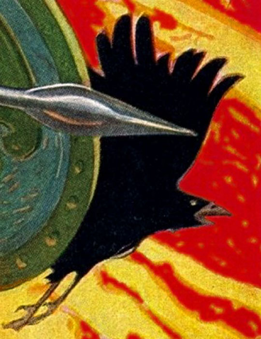 "Detail of the Morrigan Battle Crow from ""Cú Chulainn riding his chariot into battle"" by Joseph Christian Leyendecker (1874 - 1951). (Public Domain)"