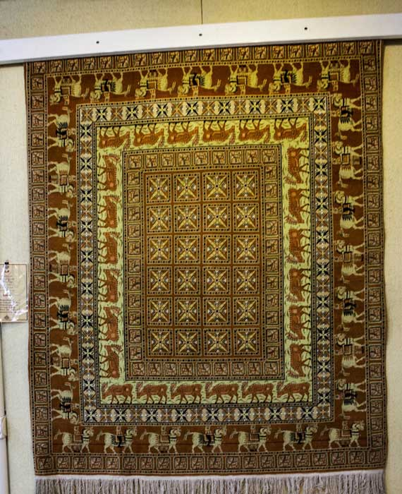 Detail of the Pazyryk carpet from a replica in the Carpet Museum of Iran